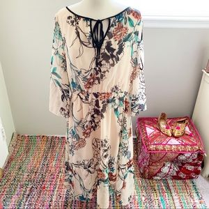 Beige by ECI Sheer Floral Dress